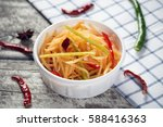 sour and spicy shredded potatoes | Shutterstock . vector #588416363