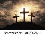 Silhouette Of Three Crosses...