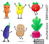 cartoon food. emotions. funny.... | Shutterstock .eps vector #588416657
