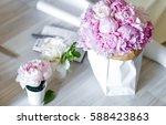 Bouquet Of Peonies In Kraft...