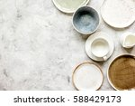 ceramic tableware top view on... | Shutterstock . vector #588429173