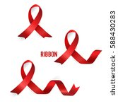 shiny red ribbon. vector... | Shutterstock .eps vector #588430283