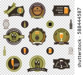 retro beer emblems set   icons... | Shutterstock .eps vector #588444587