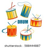 festive carnival drums isolated ... | Shutterstock .eps vector #588444887
