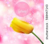 hello spring hand lettering... | Shutterstock .eps vector #588447143