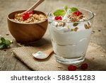homemade yogurt with granola ... | Shutterstock . vector #588451283