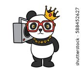 cartoon hip hop panda vector... | Shutterstock .eps vector #588452627