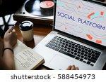 internet social platform media... | Shutterstock . vector #588454973