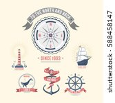fashion nautical and marine... | Shutterstock .eps vector #588458147