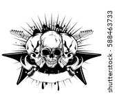 vector illustration three skull ... | Shutterstock .eps vector #588463733
