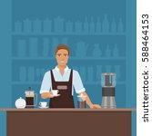 a smiling young man barista... | Shutterstock .eps vector #588464153