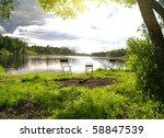 River Fishing Place On Lake...