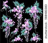 japanese style wisteria | Shutterstock .eps vector #588480383