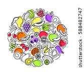 outline icon set fruits and... | Shutterstock .eps vector #588482747