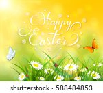 easter theme with a butterfly... | Shutterstock . vector #588484853