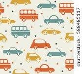 retro seamless car pattern... | Shutterstock .eps vector #588485117