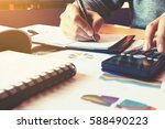 businesswoman writing make... | Shutterstock . vector #588490223