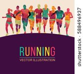 running marathon  people run ... | Shutterstock .eps vector #588496937