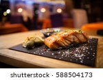 grilled scottish salmon with... | Shutterstock . vector #588504173