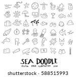 sea doodle drawing vector set | Shutterstock .eps vector #588515993
