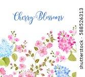 sacura flowers in rectangle... | Shutterstock .eps vector #588526313