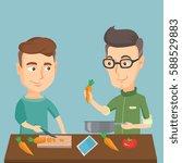 caucasian happy men cooking...   Shutterstock .eps vector #588529883
