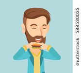 caucasian joyful man eating... | Shutterstock .eps vector #588530033