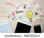 business concept .top view... | Shutterstock . vector #588532613