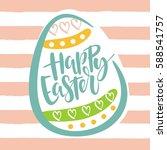 happy easter lettering card.... | Shutterstock .eps vector #588541757