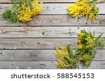 Mimosa Flowers On Gray Wooden...