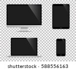 realistic set of monitor ... | Shutterstock .eps vector #588556163
