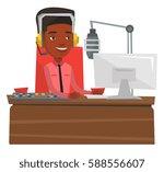 african american dj in headset... | Shutterstock .eps vector #588556607