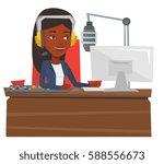 african american dj in headset... | Shutterstock .eps vector #588556673