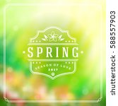 spring badge vector typographic ... | Shutterstock .eps vector #588557903
