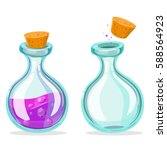 set of cartoon potion bottle....   Shutterstock .eps vector #588564923