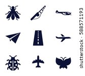 fly icons set. set of 9 fly... | Shutterstock .eps vector #588571193