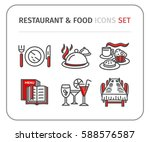 restaurant   food vector linear ... | Shutterstock .eps vector #588576587