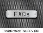 faqs metal button plate. on... | Shutterstock .eps vector #588577133