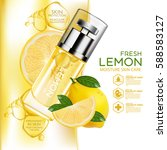 lemon fruit serum moisture skin ... | Shutterstock .eps vector #588583127