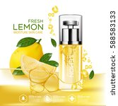lemon fruit serum moisture skin ... | Shutterstock .eps vector #588583133