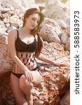 sexy young curvy brunette girl...   Shutterstock . vector #588583973