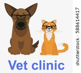cat and dog. vet clinic logo.... | Shutterstock .eps vector #588614417