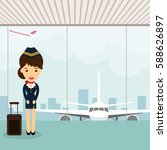 stewardess in uniform on... | Shutterstock .eps vector #588626897