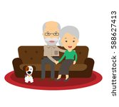 grandparents are sitting on a... | Shutterstock .eps vector #588627413