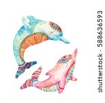 watercolor pair of lovely... | Shutterstock . vector #588636593