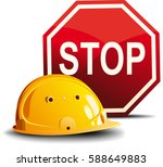 yellow construction helmet and... | Shutterstock .eps vector #588649883