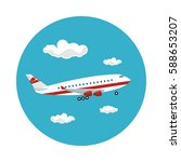 airplane flying in the sky...   Shutterstock .eps vector #588653207