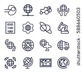 earth icons set. set of 16... | Shutterstock .eps vector #588660503