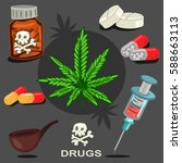 drugs vector icons set. illegal ... | Shutterstock .eps vector #588663113