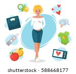 smiling cute pregnant woman... | Shutterstock .eps vector #588668177
